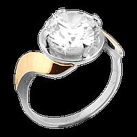 Серебряное кольцо с золотом, фото 1