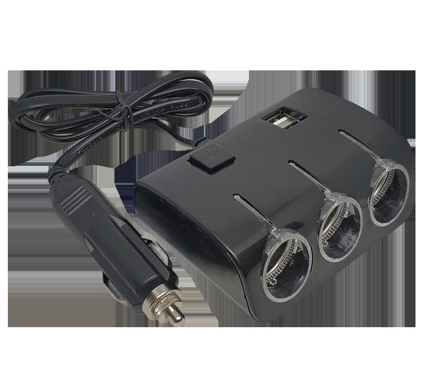 В прикуриватель разветвитель Olesson 1506 с кнопкой включения и 2 USB