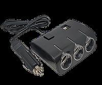 В прикуриватель разветвитель Olesson 1506 с кнопкой включения и 2 USB, фото 1