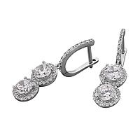 Серебряные серьги с камнями, фото 1