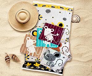 """Коврик полотенце банное для пляжа из льна """" Деловой мышонок на отдыхе"""""""