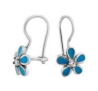 Срібні сережки Квіти з емаллю