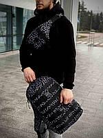 Городской молодежный Рюкзак + Бананка СУПЕР КОМПЛЕКТ с стильным, модным принтом из полиэстера, Черный