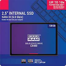"""SSD диск 128 Gb, Goodram CX400, SATA 3, 2.5"""", 3D TLC, 550/450 MB/s (SSDPR-CX400-128), ссд для ноутбука, фото 3"""