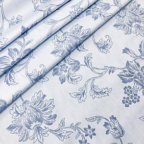 Сатин «цветы голубые» 240 см, фото 2