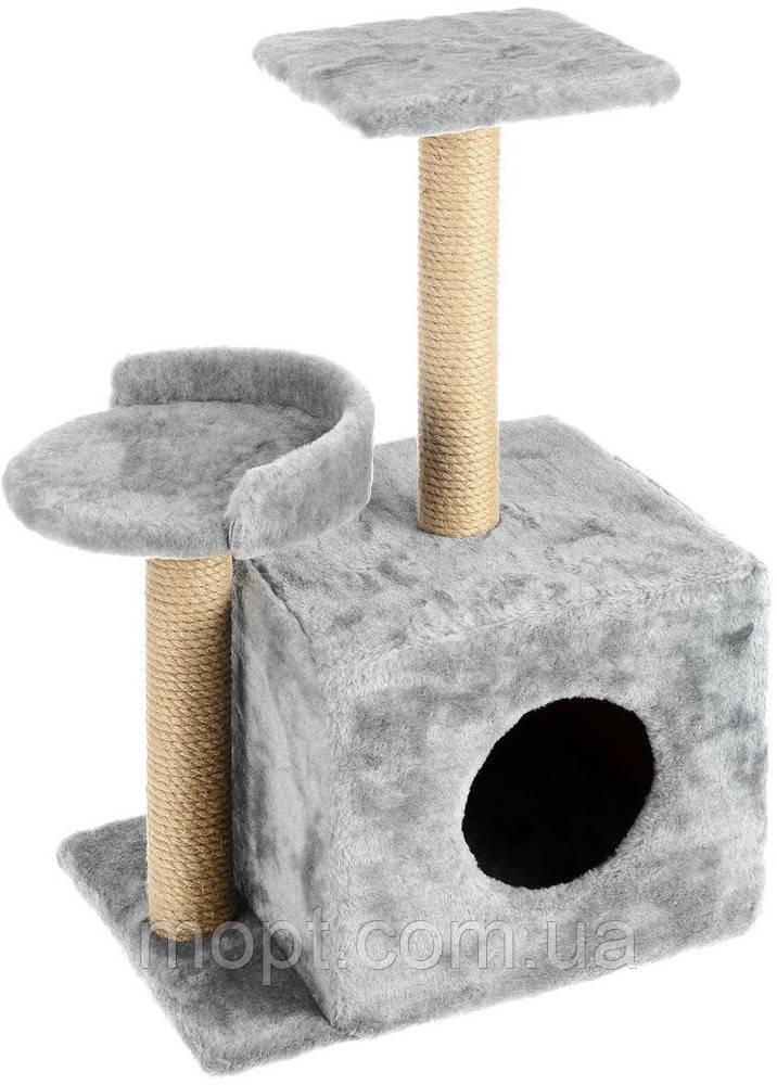 Домик для кошек с когтеточками и полочкой-лежанкой серого цвета35х45х80см