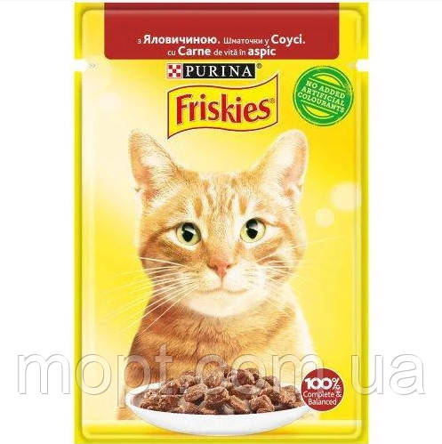 Purina Friskies Корм для котов и кошек. Говядина в соусе, 85гр