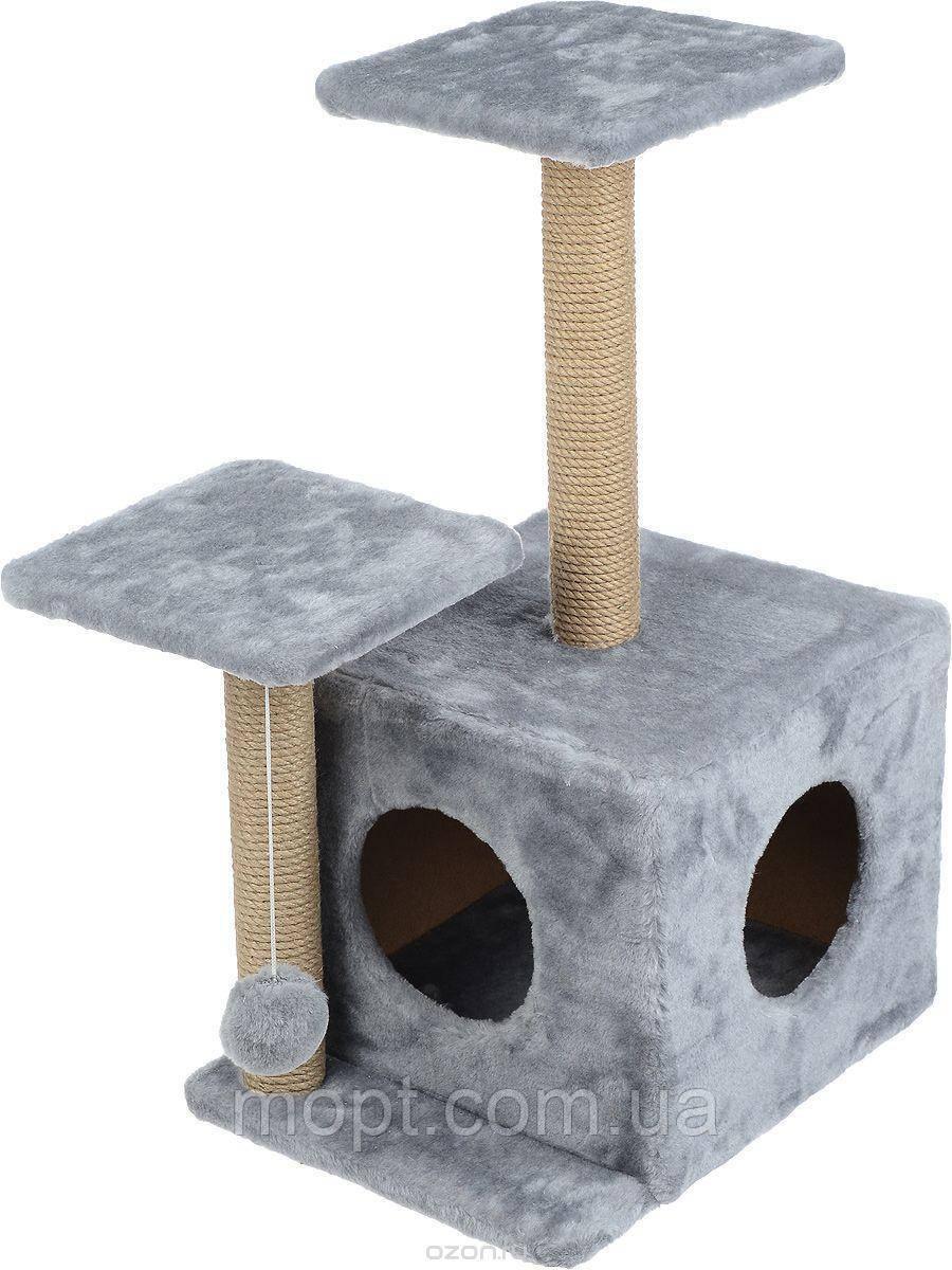 Когтеточка с домиком. Для кошек, 46х36х80 см
