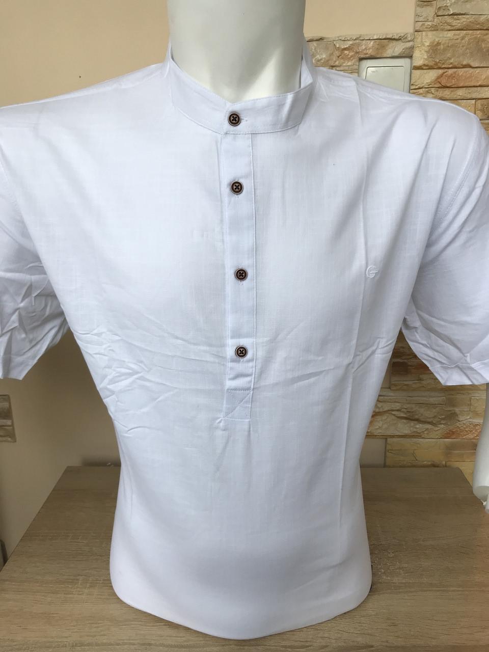 Батальная рубашка с коротким рукавом Gold Milano лён/стойка