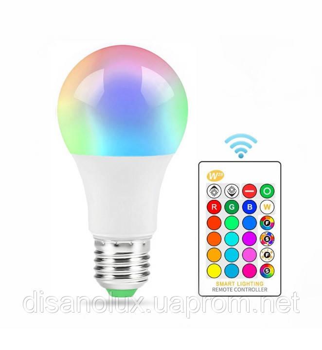 Світлодіодна лампа LED A60 E27 5W LED RGBW 220V +пульт