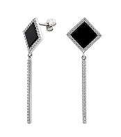Срібні сережки пуссети з оніксом, фото 1