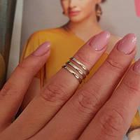 Серебряное кольцо на фалангу пальца без камней Трио