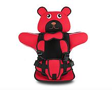 Детское Бескаркасное Автокресло в форме Медвежонка (Цвет Красный)