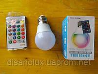 Світлодіодна лампа LED A60 E27 5W LED RGBW 220V +пульт, фото 3