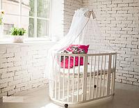 Круглая кроватка белая с матрасиками и маятником, фото 1