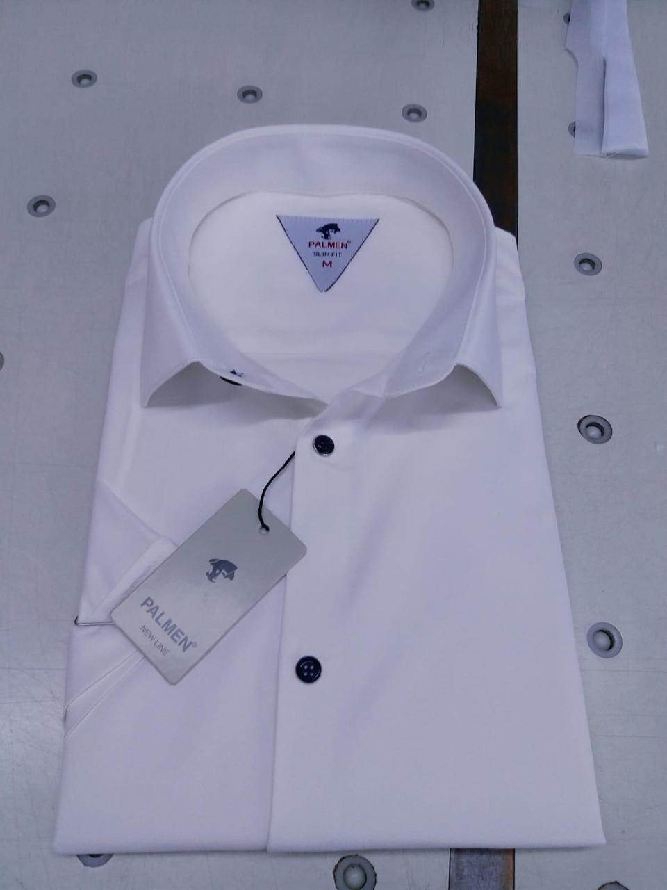 Однотонна сорочка з коротким рукавом Palmen приталеного крою