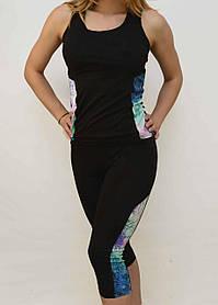 Майка і шорти жіночі з оригінальними вставками S - XL Костюм жіночий для фітнесу Ластівка