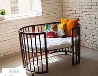 Овальная кроватка 7в1 с двумя матрасиками и маятником венге