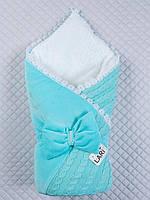 Конверт - одеяло Дуэт на выписку (ментоловый, зима)