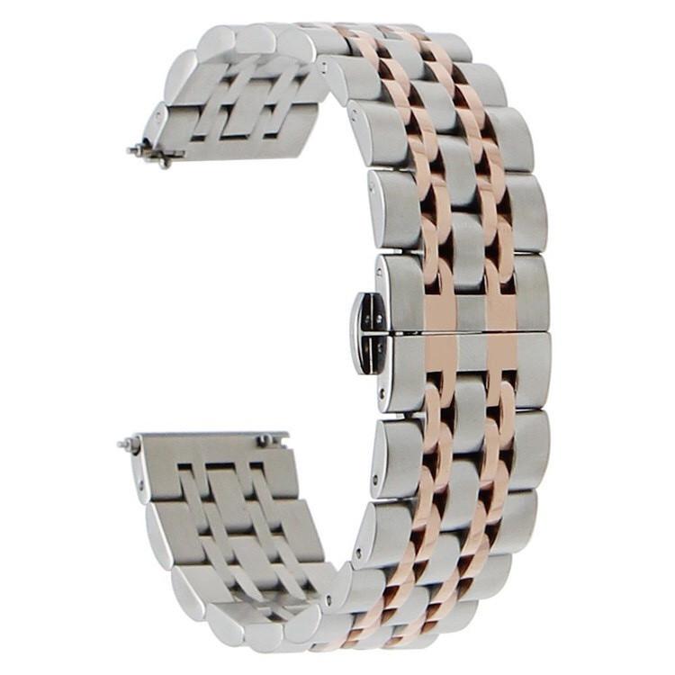 Браслет для Amazfit Stratos | Pace | GTR 47mm Ремешок 22мм Link стальной Серебро - Розовое золото BeWatch