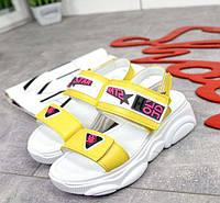 Женские босоножки на платформе на липучке кожаные 3135ТОПС