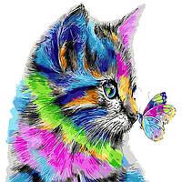 """Картина по номерам. """"Радужный котенок"""" 40*40см KpNe-02-08"""