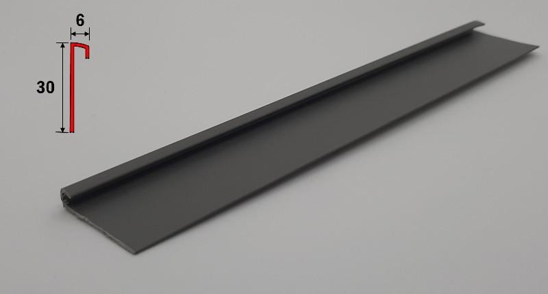 Плинтус для завода виниловой плитки на стену 2,5 м Тёмно-серый