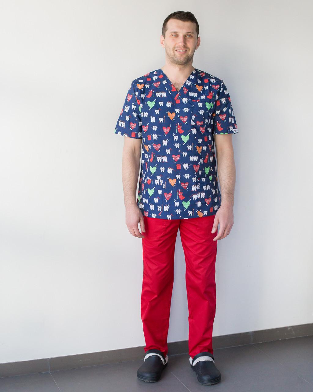 Медицинский мужской костюм Гранит принт Teeth red