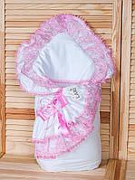 Нарядный конверт-одеяло на выписку из роддома Луиза (розовый)