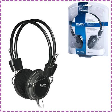Наушники с микрофоном Sven AP-520 Black, гарнитура, фото 2