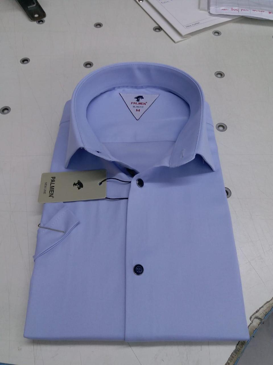 Однотонная рубашка с коротким  рукавом Palmen приталенного кроя