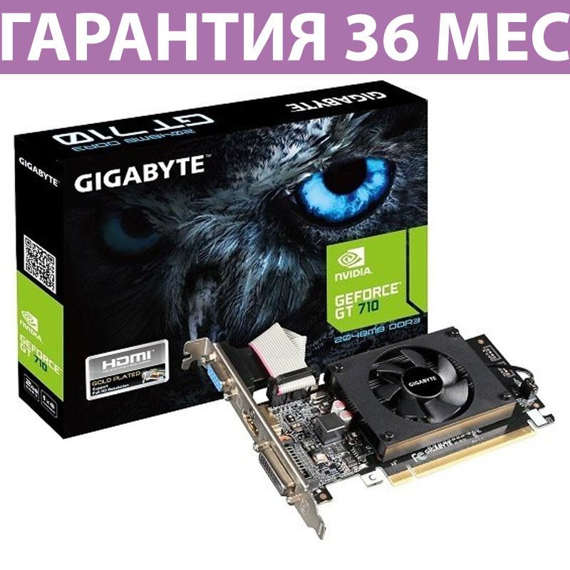 Відеокарта GeForce GT710, Gigabyte, 2 Гб DDR5, 64-bit, низькопрофільна (GV-N710D5-2GL)