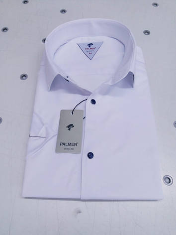 Однотонная рубашка с коротким  рукавом Palmen приталенного кроя, фото 2