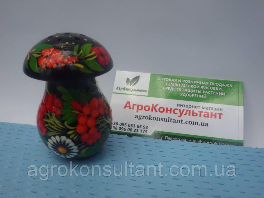 Солонка гриб (маленькая) черная - Петриковская роспись\ Solyanka mushroom (small) - Petrikov painting