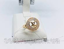 Стильное золотое колечко с цирконом копия LV Бренд5