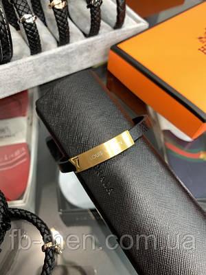 Браслет Louis Vuitton золотой логотип Мужской женский браслет Луи Виттон золотого цвета кожаный ремешок