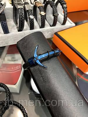 Браслет Rolex синего цвета Мужокой женский браслет Ролекс синий кожаный ремешок