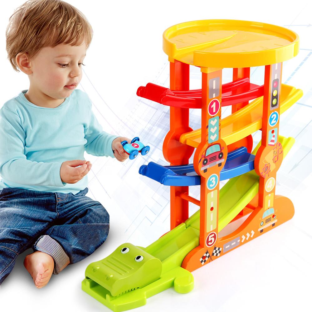 Детский развивающий трек многоуровневый автопарк с машинками