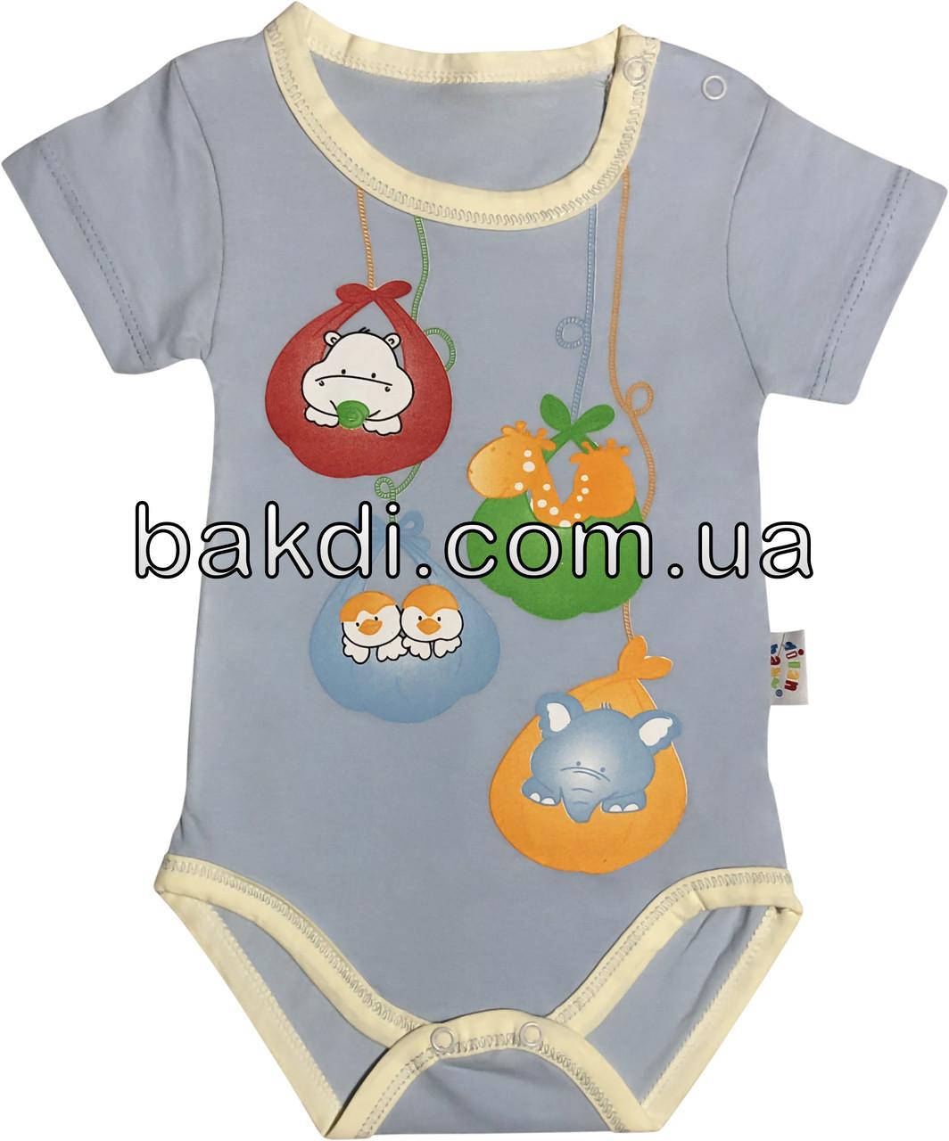 Детское летнее тонкое боди рост 74 6-9 мес трикотажное голубое на мальчика бодик с коротким рукавом для новорожденных малышей ТН194