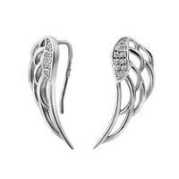 Срібні сережки з камінням Крила, фото 1