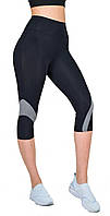 Спортивные бриджи женские для фитнеса / высокая посадка и утяжка модель Valeri 1237 черные с серым, фото 1