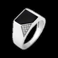 Чоловічий перстень срібний з чорним оніксом і білими фіанітами, фото 1
