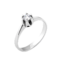 Серебряное кольцо с одним камнем Бутон, фото 1