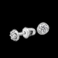 Серебряные серьги пусеты Солнце с маленькими фианитами, фото 1
