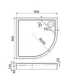 MALAGA Rondo Compact поддон полукруглый 90*90 с интегрированной панелью выс.13,5 см, с сифоном, фото 3