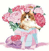 """Акриловая картина по номерам на холсте животные, цветы """"Кот в пионах"""" 30х30, 3 уровень сложности"""
