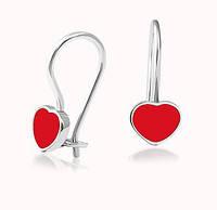 Срібні сережки Сердечка з емаллю