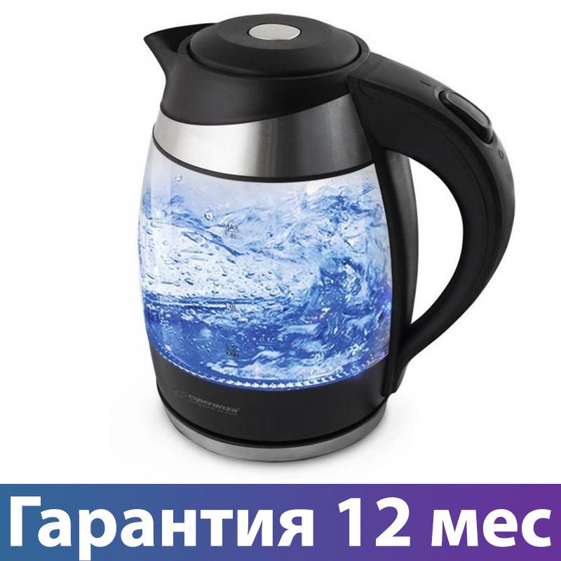 Электрочайник Esperanza EKK009, 2200 Вт, 1.8 л, стеклянный, чайник электрический, електрочайник