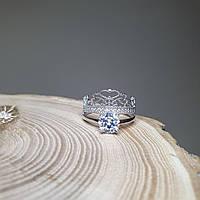 Серебряное кольцо двойное 16