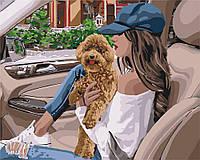 """Акриловая картина по номерам на холсте люди, животные """"Девушка с собакой"""" 40х50, 4 уровень сложности"""